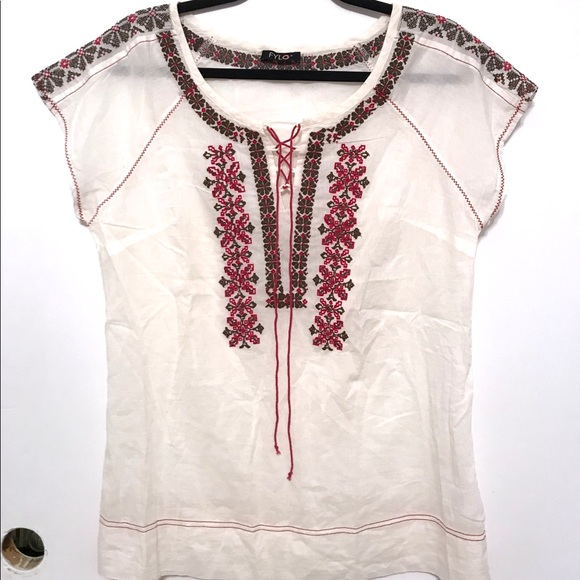 Off-white - tie front- embroidered- Boho Blouse